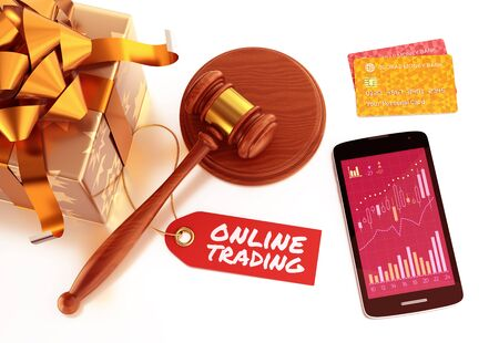 """Online Auction. Graphic composition on the subject of """"Internet Trading"""". 3D rendering image."""