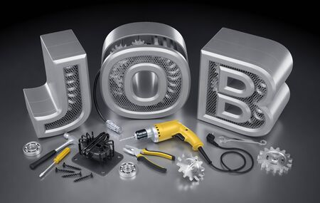 Repair Technician Job. Set of locksmiths  mechanics tools and machine parts on reflective background in front of the JOB word. 3D rendering graphic composition on the theme of Employment And Labor.