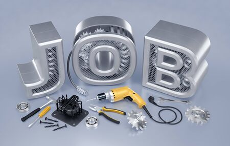 Repair Technician Job. Set of locksmiths  mechanics tools and machine parts on reflective background in front of JOB word. 3D rendering graphic composition on the theme of Employment And Labor.