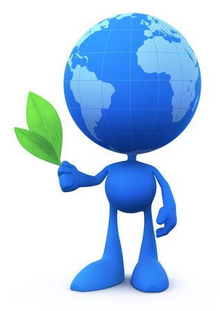 Cartoon Ecologist. Cartoon man with a globe instead of a head, holding two fresh green leaves. 3D rendered image. Banco de Imagens