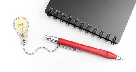 A Pen For A Genius. Composition on the subject of Creative Writing. 3D rendered graphics on reflective white background.