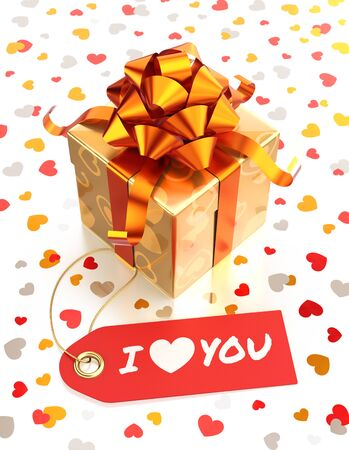 Festive Gift Box. Composition on the subject of 'Valentine's Day'. 3D rendered graphics.