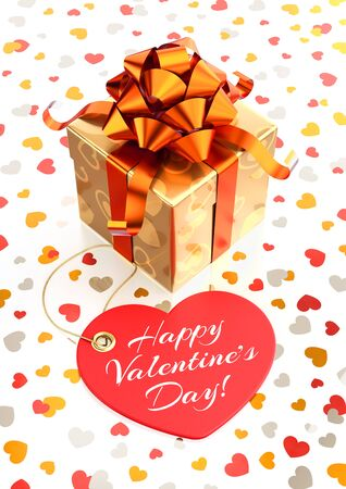 Happy Valentine's Day! Festive gift box and heart-shaped tag with calligraphic text in front of it. 3D rendered composition on white glossy background. Archivio Fotografico