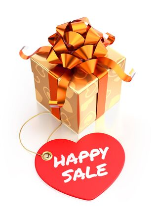 Happy sale! Festive gift box and heart-shaped tag with calligraphic text in front of it. Composition on the subject of 'Valentine's Day'. 3D rendered graphics.
