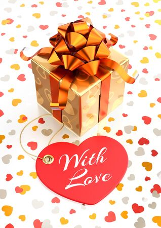 'With Love' Gift Box. Festive gift box and heart-shaped tag with calligraphic text in front of it. Composition on the subject of 'Valentine's Day'. 3D rendered graphics.