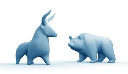 Bull And Bear Market. Blue-toned statuettes of a bull and a bear as metaphoric stock market players. 3D rendered graphics on white background.