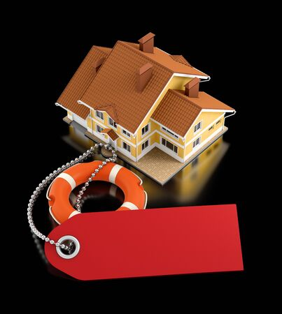 Home Insurance. Illustration on the subject of 'Real Estate Insurance'. 3D rendering graphics on reflective black background.