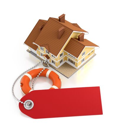 Home Insurance. Illustration on the subject of 'Real Estate Insurance'. 3D rendering graphics on reflective white background. Stock Photo
