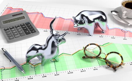 A Bull and A Bear on A Desktop Stock Market. Metallic statuettes of a bull and a bear, standing opposite of each other on a desk. Illustration on the subject of Stock Market. 3D rendered graphics.