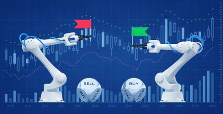 Trading Robots On A Stock Market. Illustration / 3D rendering graphic composition on the subject of 'Financial Technologies / Stock Exchange'.