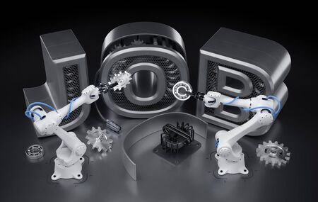 Robotics Job. Industrial robotic manipulators, which are assembling word of JOB from mechanical parts. 3d rendering graphic composition on the theme of Robotization.
