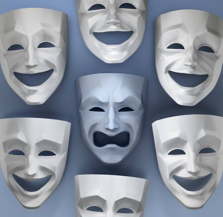 Tragedy Amongst The Fun. Composition of comedian and tragedy theater masks on reflective glossy background. 3D rendered graphics.