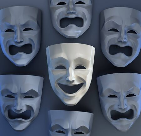 There Is Still Joy Among The Sadness. Composition of comedian and tragedy theater masks on reflective glossy background. 3D rendered graphics.