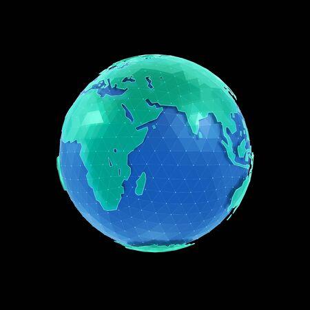 World Globe. Polygonal CG model of a globe. 3D-rendering graphics isolated on black background.