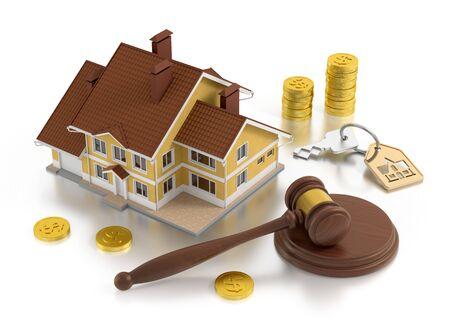 Immobilien-Auktion. Komposition zum Thema Immobilienhandel. 3D gerenderte Grafiken. Standard-Bild