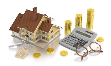 """Real Estate Accounting. Retro style composition on the subject of """"Real Estate Trading"""". 3D rendered graphics."""