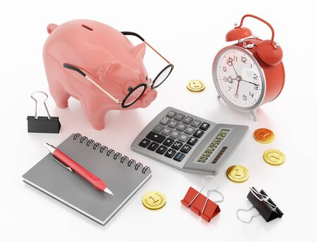 Piggy Bank Accounting. 3D rendering graphics on the subject of Financial Accountancy. Zdjęcie Seryjne