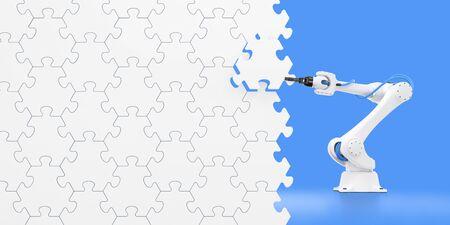 Espectáculo de acción del brazo robótico. Brazo mecánico de un robot industrial que monta una pared a partir de piezas de rompecabezas. Composición gráfica de renderizado 3D sobre el tema de 'Robótica industrial'.