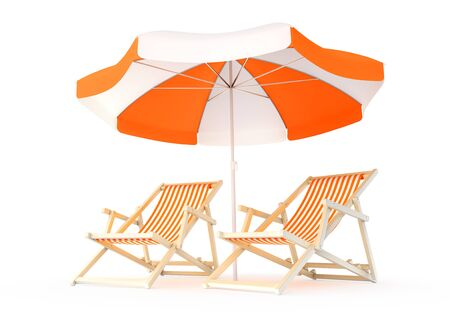 Couple's Vacation Spot. Two deck chairs beside of an sunshade parasol isolated on white background. 3D rendered image.
