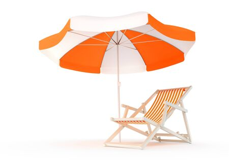 Summer Vacation Spot. A beach chair beside of an umbrella, isolated on white background. 3D rendered image. Reklamní fotografie