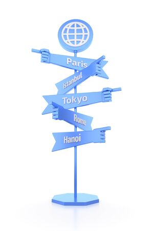 Travelers Global Signpost. Direction signpost with the mounted pointers in forms of human hands. 3D rendered graphics on white background.