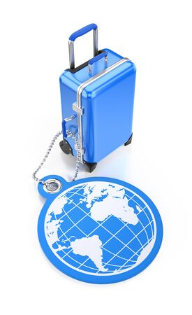 World Travel. A blue travel luggage behind of a round tag pictured as a world map on reflective white background. Illustration on the subject of Travel and Tourism. 3D rendered graphics on white background.