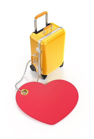 Passion for Travel. Yellow travel siutcase behind of a heart-shaped tag on reflective white background. Graphic mockup  template on the subject of Travel and Tourism. 3D rendered composition.