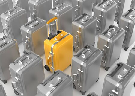 Selected Luggage. Travel case, highlighted by yellow among the same colorless cases. 3D rendering graphics on the subject of Travel & Tourism.