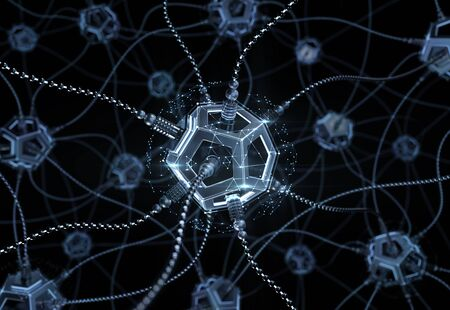 Artificial Neural Network. Neural nodes, connected together with synaptic links inside of an electronic cyberspace. 3D rendering graphics on the subject of Artificial Intelligence.