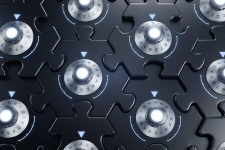 Jigsaw Puzzle As Cryptographic Blockchain. Combination locks inbuilt to pieces of hexagonal jigsaw puzzle and they are all interconnected of each other. 3D rendering graphics on the subject of Digita 写真素材