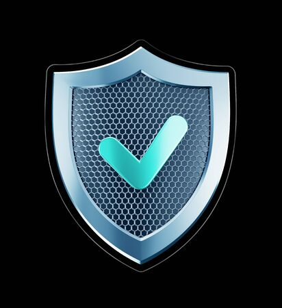 Cyber Defense. Metallic shield designed in 'technological style' isolated on black background. 3D rendering graphics.