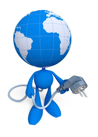 Lets Give The World An Electric Power. Cartoon man with a globe instead of a head, which holds an electric plug. Illustration on the theme of