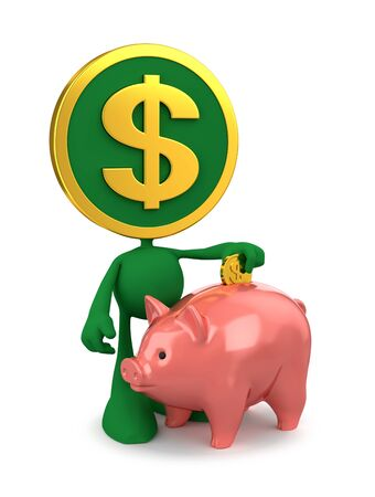 Dollar Piggy Bank Savings. Cartoon Coin-Man putting money in a toy bank. 3D rendering graphics on the subject of Home Finance.