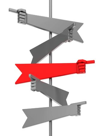 Turn To The Right Way. Directional arrows in forms of a hands, pointing to different ways, one of them is a red. 3D rendered graphics isolated on white background.