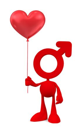 3D figure with man gender symbol as his head holding heart-shaped balloon.