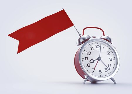 Time Scheduling Graphic Template. Old-fashioned alarm clock with a blank red banner  flag for any message. 3D rendered graphics on light gray background.