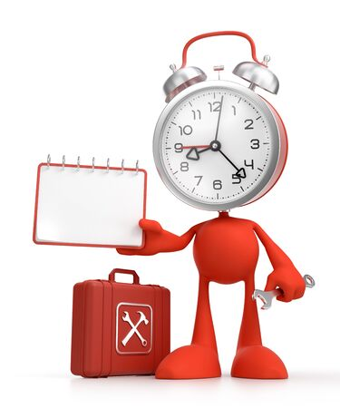 Cartoon Technical Support. Bizarre alarm clock as a funny character holding blank calendar and a wrench. 3D rendered graphics on the theme of Customer Service.