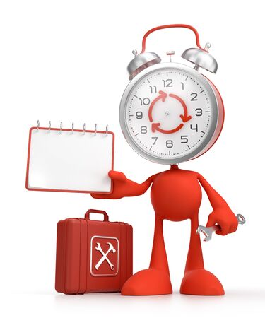 Cartoon Technical Support. Bizarre alarm clock as a funny character holding a calendar and a wrench. 3D rendered graphics on the theme of Customer Service.
