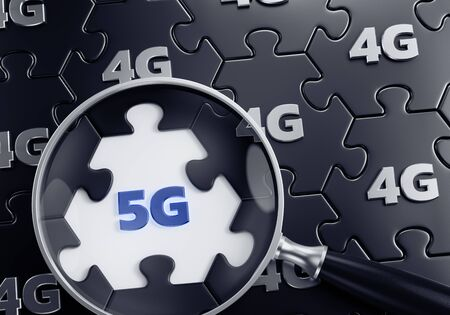 Search For 5G Network. 3D rendering graphic composition on the subject of Modern Wireless Technologies. Stock fotó