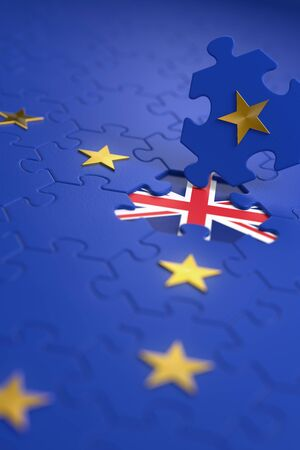Brexit - British exit from the European Union. The idea of a 'Brexit' represented by a jigsaw puzzle. 3D rendering graphics.