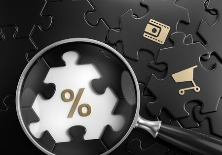 Discount Search. Close-up composition of magnifying glass focusing on percent symbol surrounded by black colored jigsaw puzzle assembled from hexagonal parts. 3d rendering graphics.