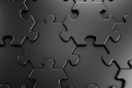 Geometric Pattern Of A Jigsaw Puzzle. Close-up view of assembled hexagonal parts of black colored jigsaw puzzle. 3d rendering graphics. Reklamní fotografie
