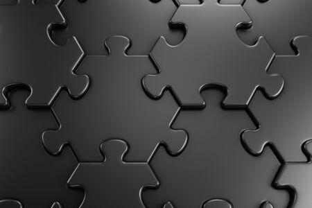 Motif Géométrique D'un Puzzle. Vue rapprochée des pièces hexagonales assemblées du puzzle de couleur noire. graphiques de rendu 3D. Banque d'images