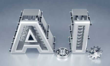 Artificial (Machine) Intelligence. Designed in techno-style capital letters composed into the abbreviation of AI on reflective background. 3d rendering graphics.