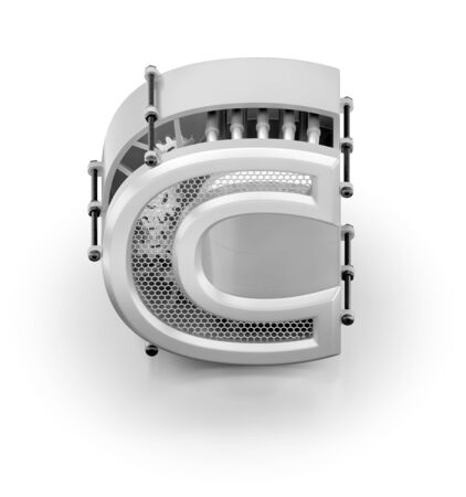 C majuscule de l'alphabet. Vue orthographique à la lettre 'C' de style techno assemblée à partir de pièces mécaniques sur fond blanc réfléchissant. graphiques de rendu 3D.