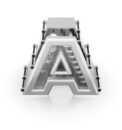 Capital A of Alphabet. Orthographic view at designed in techno-style letter 'A' assemled from mechanical parts on reflective white background. 3d rendering graphics.