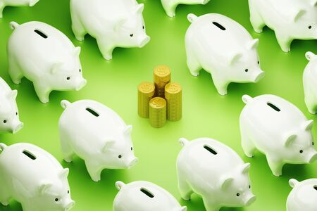 Its Time to Spend Savings. Stacks of Dollar coins placed among of piggy banks arranged to rows. 3D rendering graphics on the theme of Financial Accountancy.