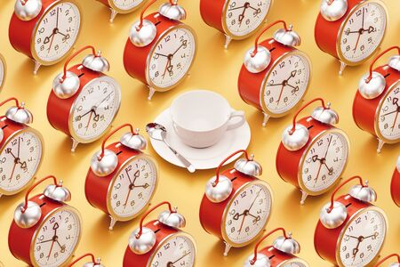 White coffee set placed among of arranged to rows alarm clocks. 3D rendering graphics on the subject of 'Workday Routine'. Banque d'images