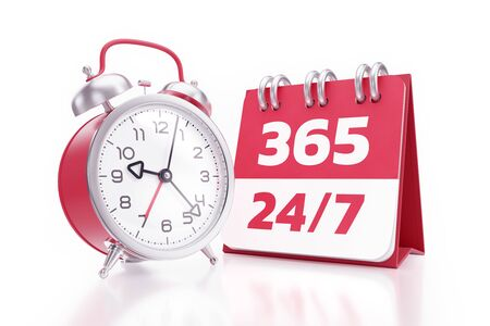Non-stop Service. An alarm clock placed beside of a calendar with printed numbers and both of them are standing on reflective white background. 3D rendering graphics on the subject of 'Marketing in Business'.