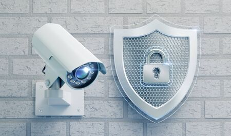 CCTV Security. External surveillance camera mounted on a brick wall beside of a metallic shield which is designed in 'technological style' and represented as a symbol of security. 3D rendering graphics on the theme of 'Modern Security Technology'.